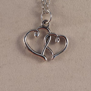 Silver Two Hearts in Love Pendant Necklace +Gift